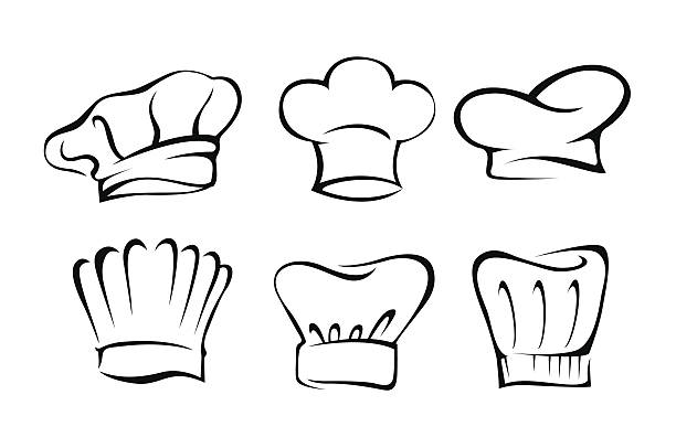 Chef's Hat Set Illustration Set of Chef's hat vector illustration chef's hat stock illustrations