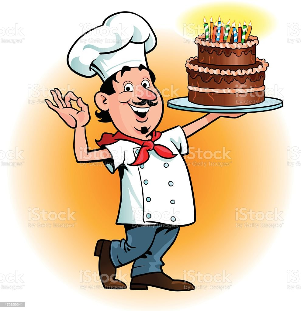 Chefs Ok Gesture For A Birthday Cake Stock Vector Art More Images