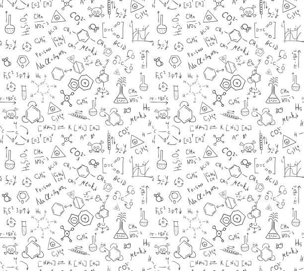 ilustraciones, imágenes clip art, dibujos animados e iconos de stock de patrón de chem - fondos escolares