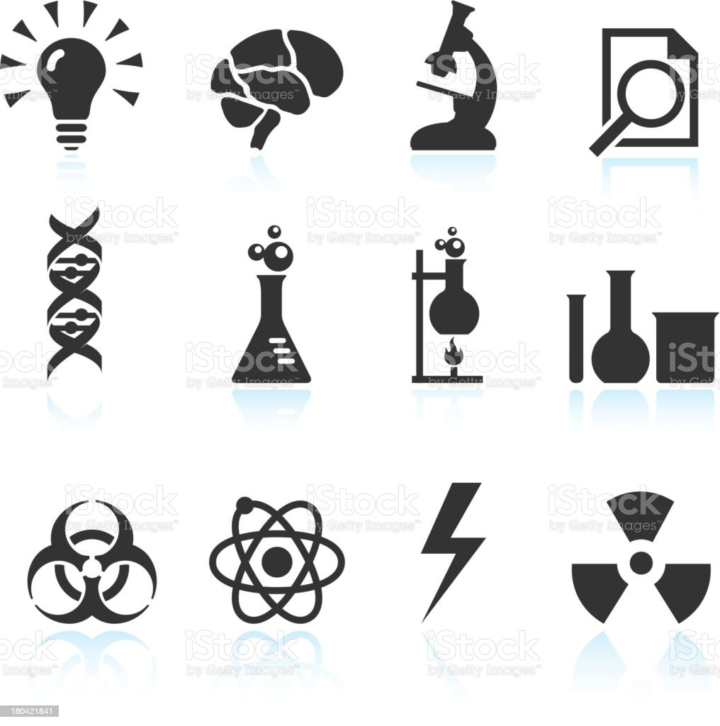 Chemical and Scientific Innovation Black & White vector icon set royalty-free chemical and scientific innovation black white vector icon set stock vector art & more images of atom