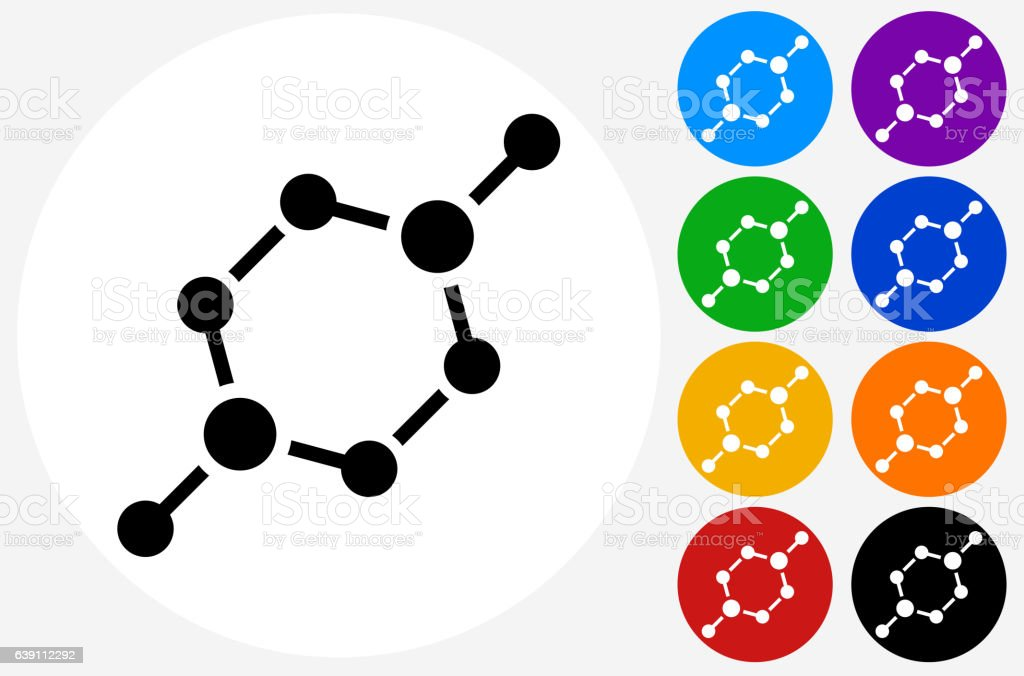 Chemical Bond Icon on Flat Color Circle Buttons vector art illustration