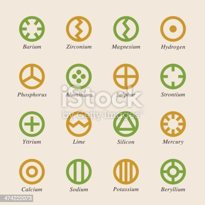 Chemical Element Icons Set 1 Color Series Vector EPS10 File.