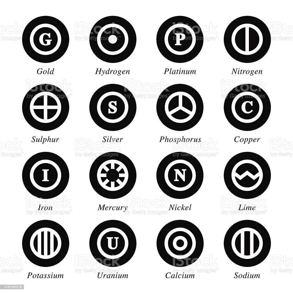 Chemical Element Icons Set 2 - Black Circle Series vector art illustration