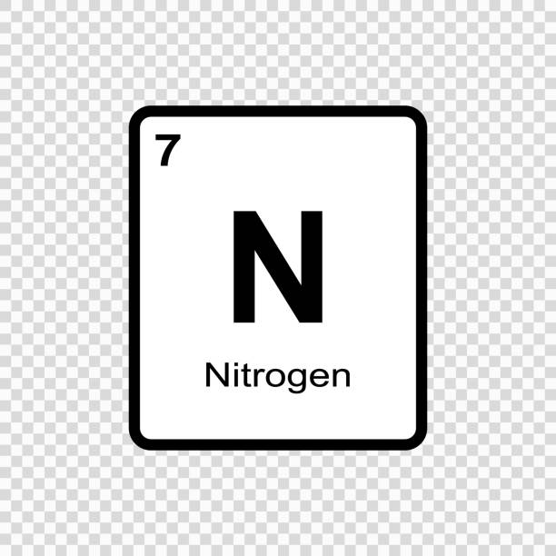 illustrazioni stock, clip art, cartoni animati e icone di tendenza di chemical element nitrogen - azoto