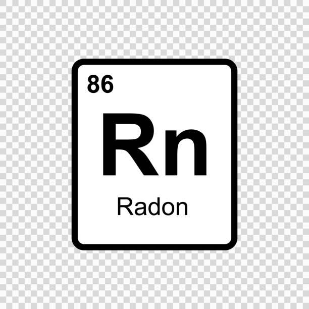 stockillustraties, clipart, cartoons en iconen met scheikundig element radon - radon test