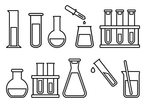 Chemical equipment, chemical flasks. Vector illustration Chemical equipment, chemical flasks, outline design. Vector illustration laboratory flask stock illustrations