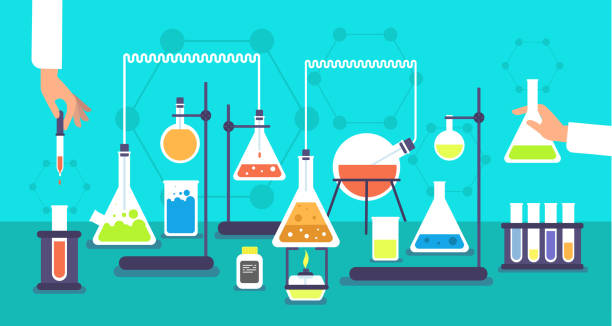 Chemical equipment in chemistry analysis laboratory. Science school research lab experiment vector background Chemical equipment in chemistry analysis laboratory. Science school research lab experiment vector background. Analysis experiment, lab research chemistry illustration chemical reaction stock illustrations