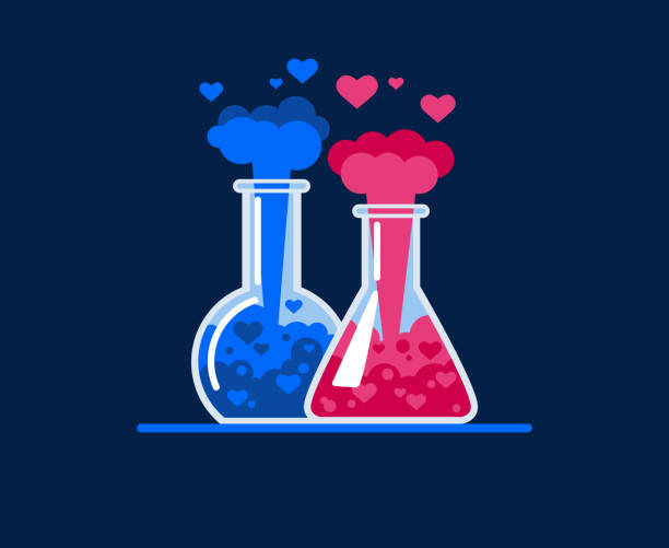Chemical explosion and flying hearts. Love symbol Chemical explosion in a test tube. Hearts fly out of two glass flasks, a chemical reaction occurs. Symbol of love. Flat Vector Illustration chemical reaction stock illustrations