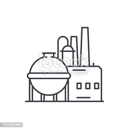 Chemical factory line icon concept. Chemical factory vector linear illustration, sign, symbol