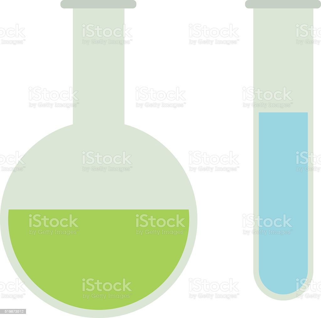 Chemical flasks equipment - test tube, empty isolated on white vector art illustration