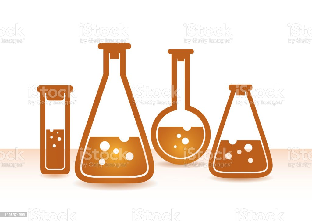 Chemical flasks icons set. Chemical laboratory equipment isolated on...