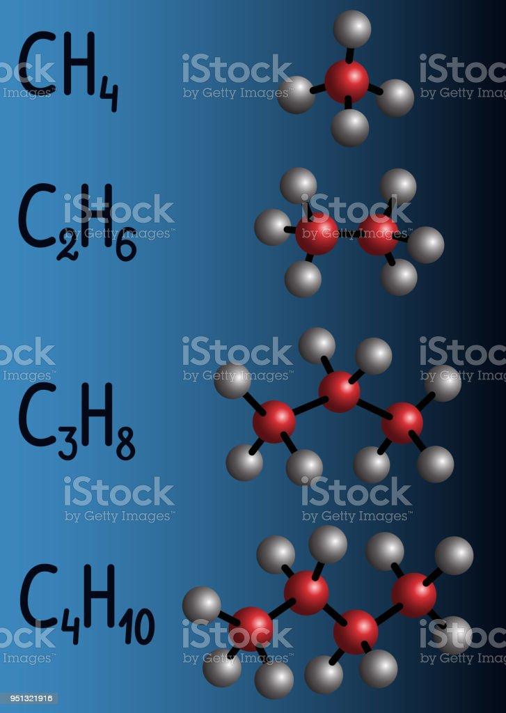 Chemical formula and molecule model methane , ethane , propane ,...