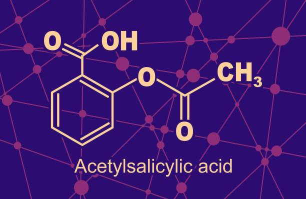 Chemical formula of acetylsalicylic acid Structural chemical formula of acetylsalicylic acid. Aspirin molecule. Lines and dots connected background acetylsalicylic stock illustrations