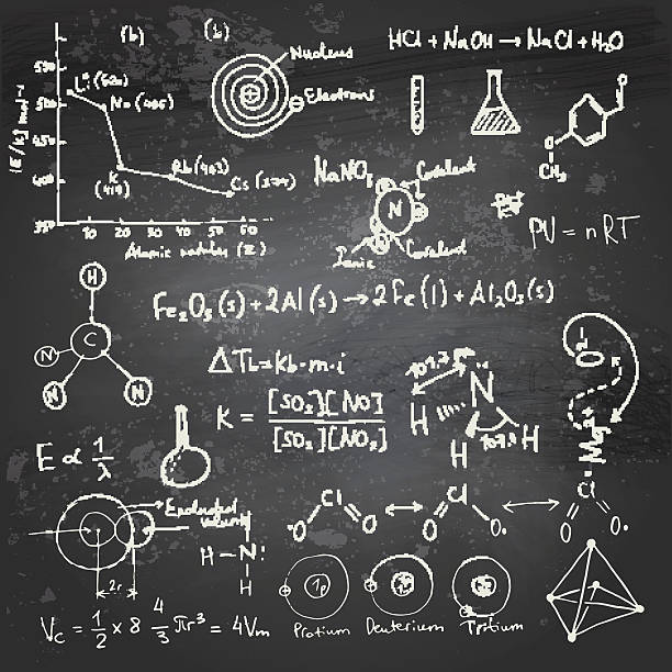 Química fórmulas y dibujos de chalkboard - ilustración de arte vectorial