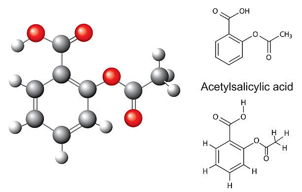Chemical formulas and model of acetylsalicylic acid Structural chemical formulas and model of acetylsalicylic acid, 3d acetylsalicylic stock illustrations