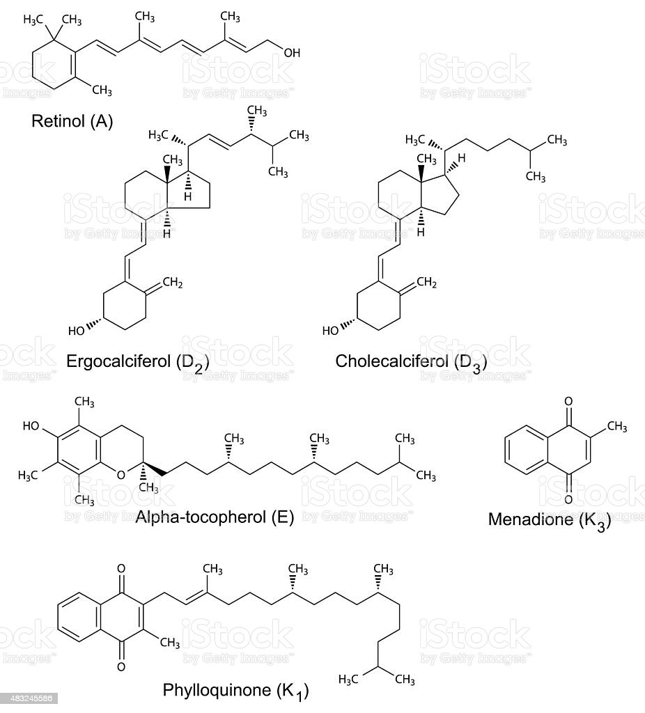 Chemical formulas of liposoluble vitamins vector art illustration