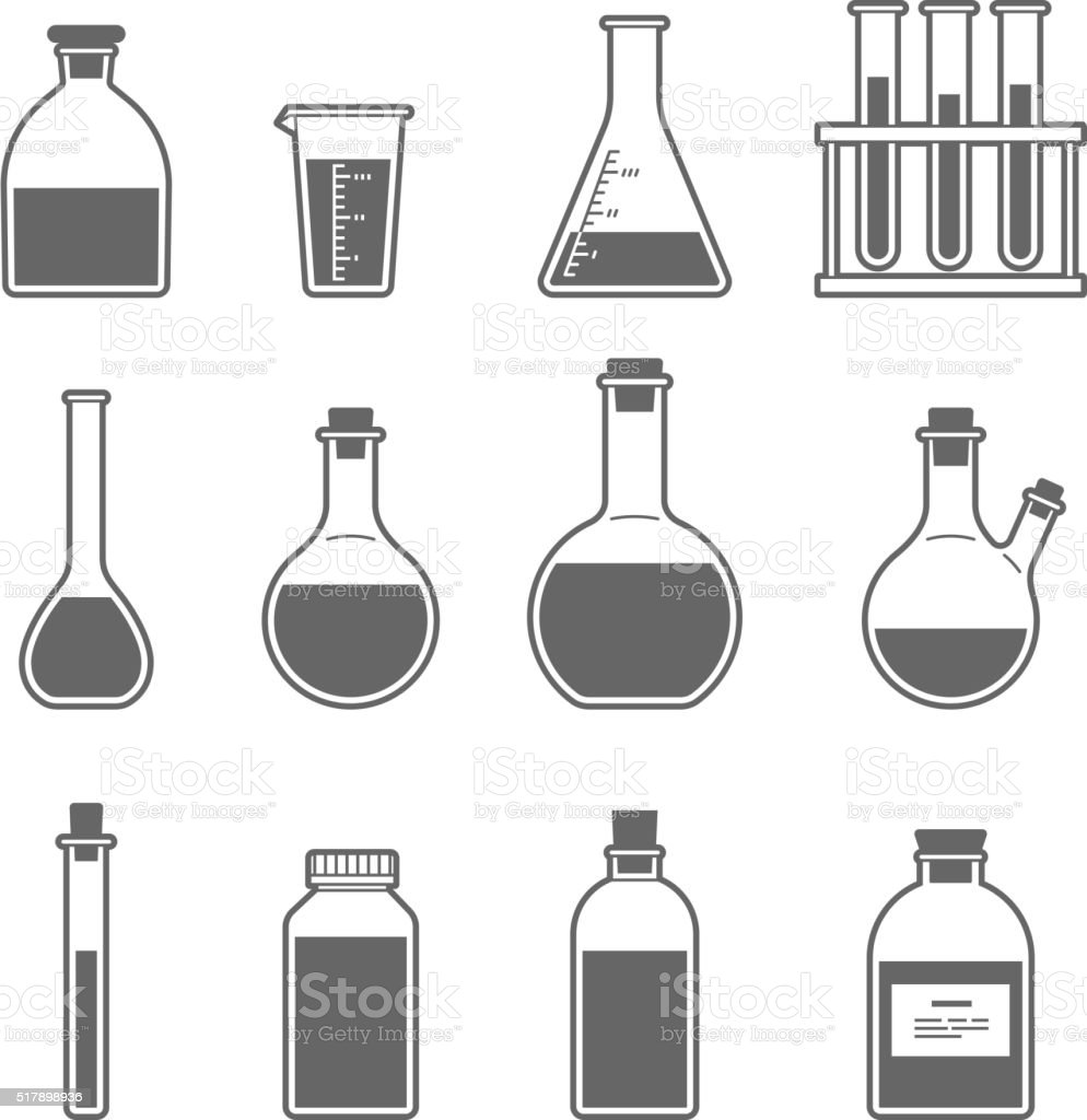 chemical glassware icon vector art illustration