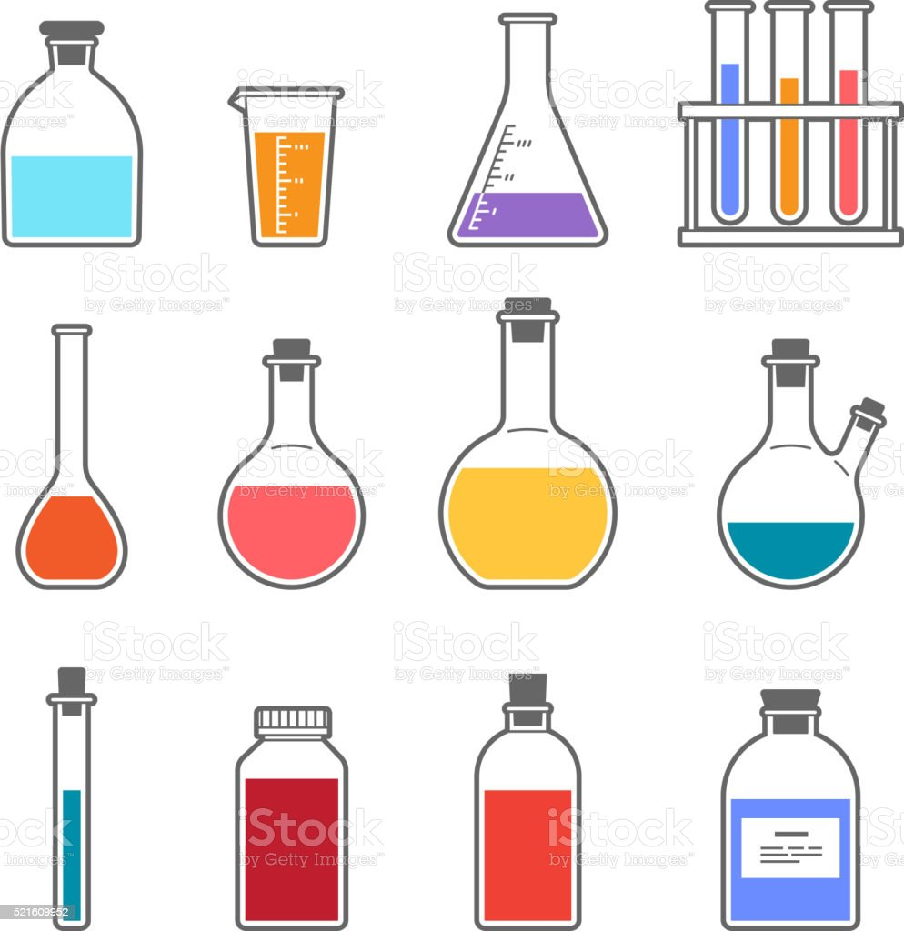 chemical glassware icon vector art illustration