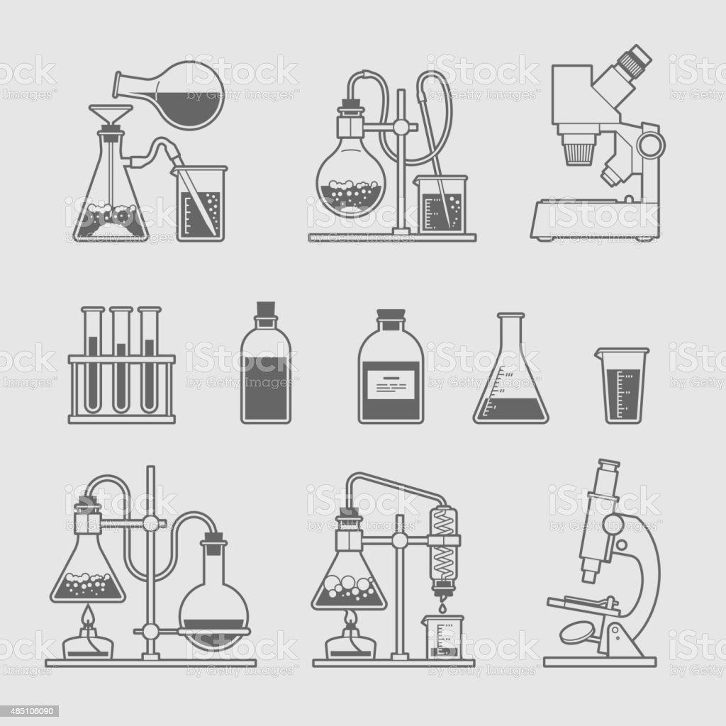 chemical glassware icons set. vector art illustration