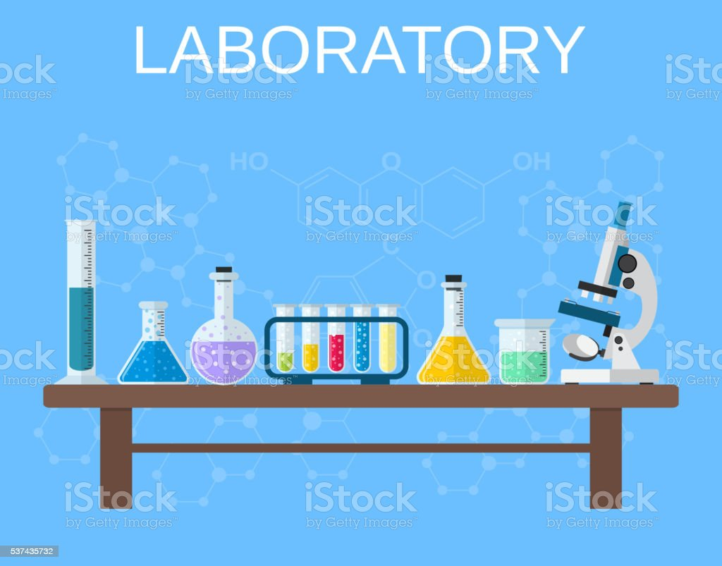 Chemical glassware, laboratory. vector art illustration