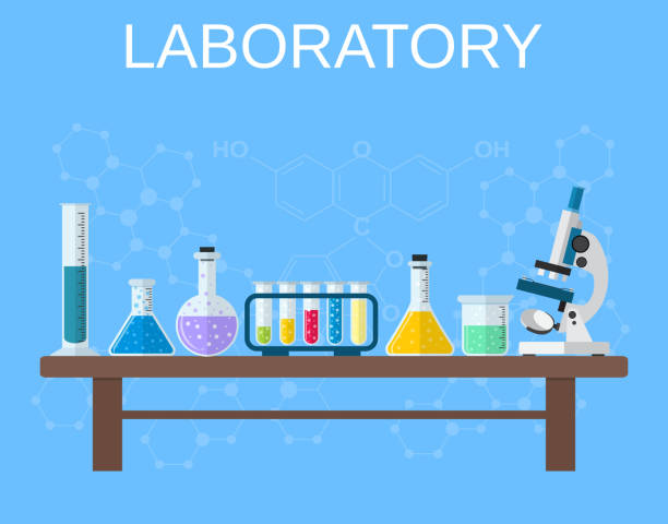 Chemical glassware, laboratory. vector art illustration