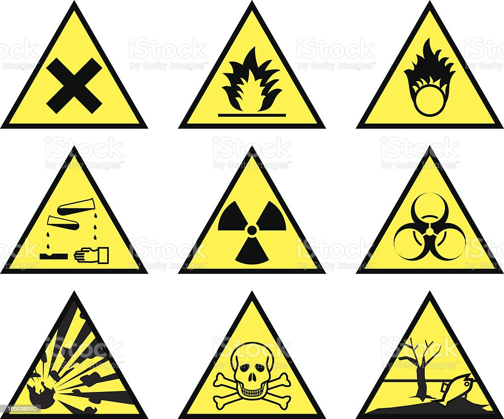 Chemical hazard warning triangles (vector & jpeg) royalty-free stock vector art