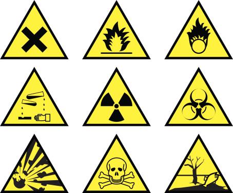 Chemical hazard warning triangles (vector & jpeg)