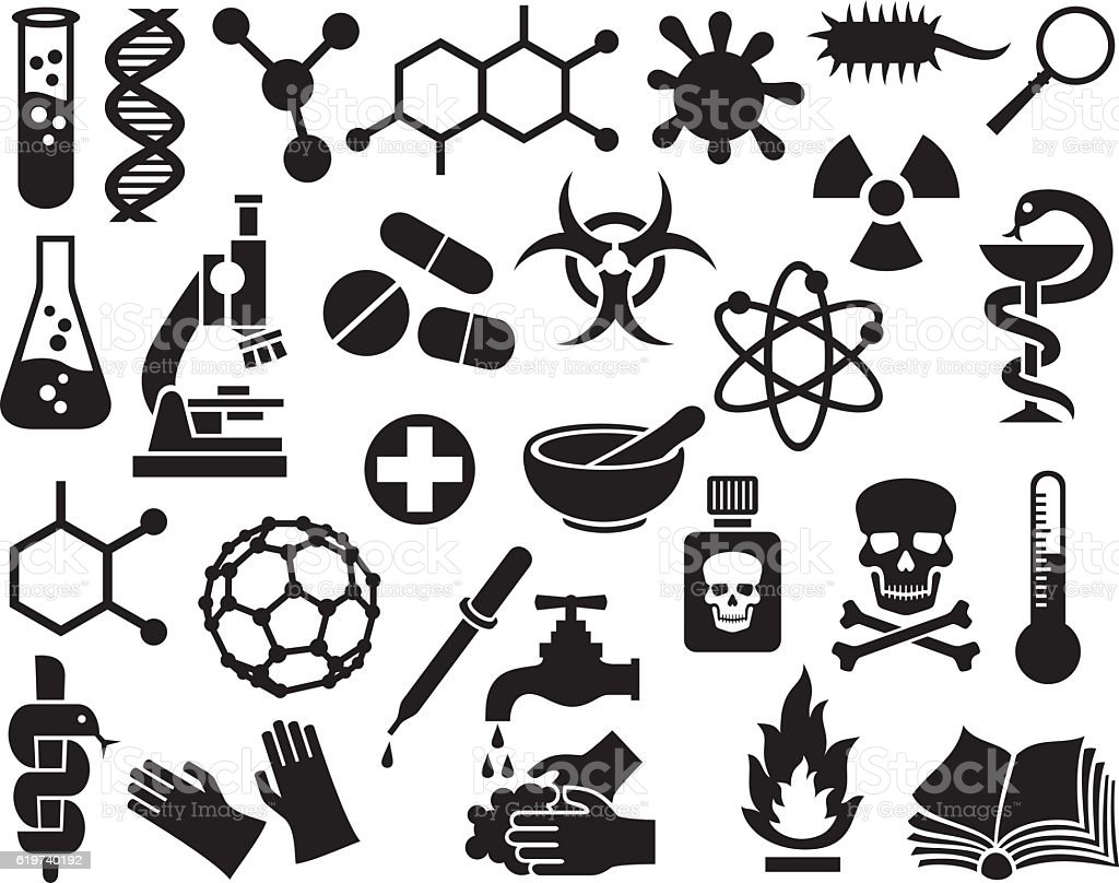 chemical icons set (science elements for design, molecular structures) vector art illustration
