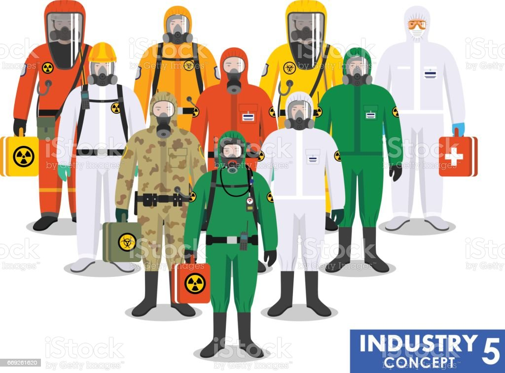 Chemical industry concept. Group different workers standing together in differences protective suits on white background in flat style. Dangerous profession. Vector illustration vector art illustration
