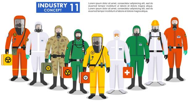 Chemical industry concept. Group different workers standing together in differences protective suits on white background in flat style. Dangerous profession. Vector illustration. Group different workers standing together in differences protective suits on white background in flat style. Dangerous profession. Vector illustration. military uniform stock illustrations