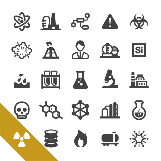 Chemical Industry Icons - Select Series chemistry, Industry, Research hazardous chemicals stock illustrations