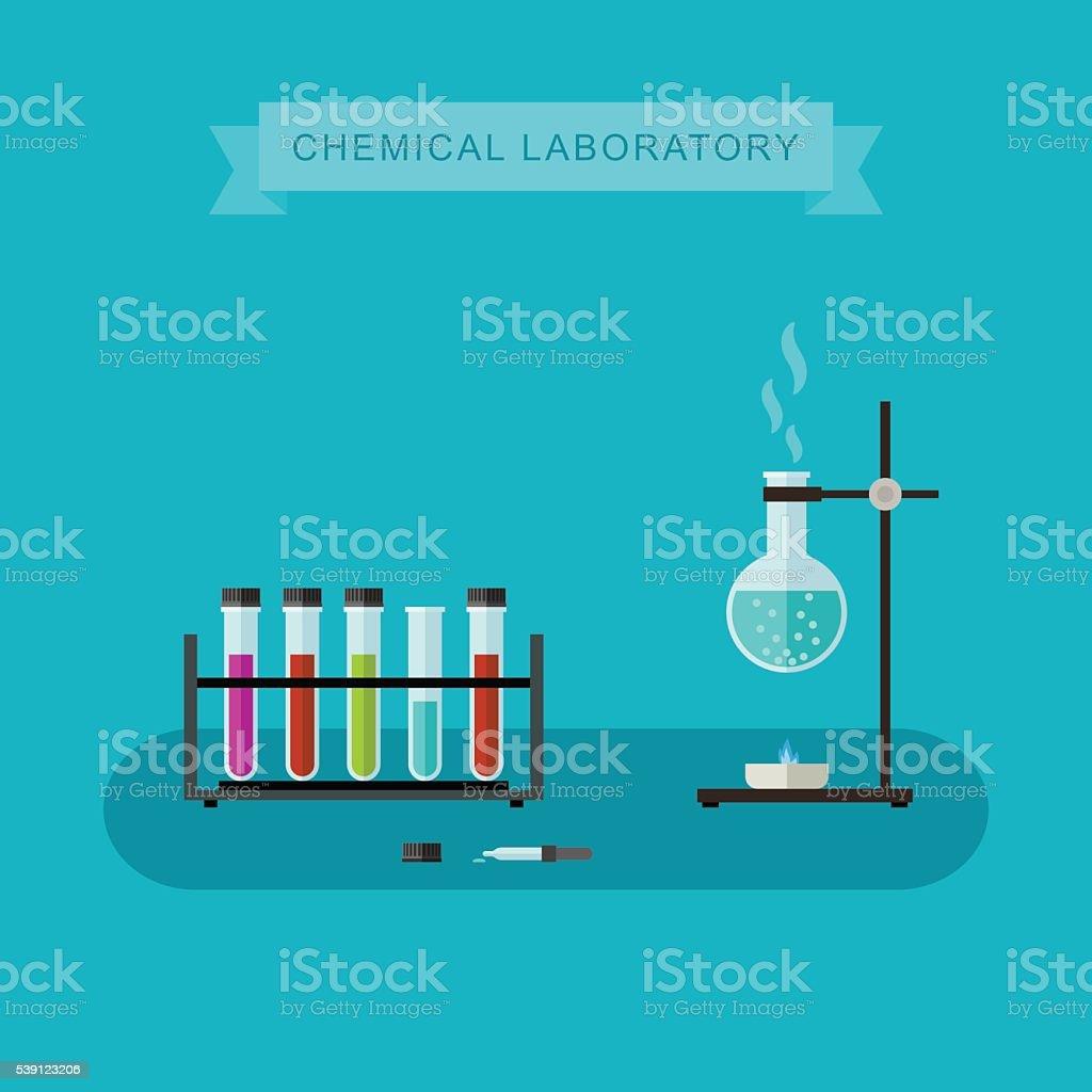 Chemical laboratory banner. vector art illustration