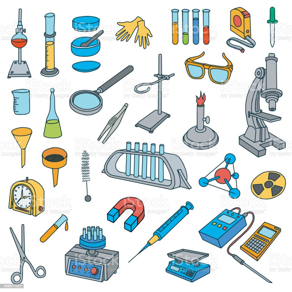Chemical Laboratory Equipment Doodles Royalty Free Stock Vector Art Amp