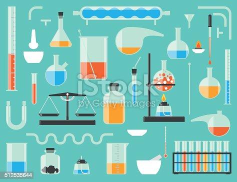 Set of chemical laboratory equipment. Chemical glass.