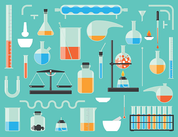 Chemical laboratory equipment Set of chemical laboratory equipment. Chemical glass. laboratory flask stock illustrations