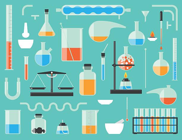 stockillustraties, clipart, cartoons en iconen met chemical laboratory equipment - laboratoriumapparatuur