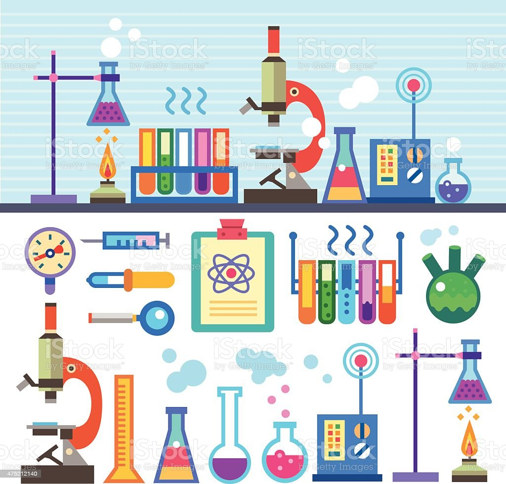 Chemical Laboratory in flat style vector art illustration