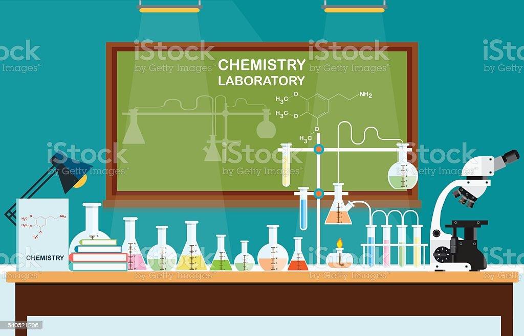 Química laboratório de ciências de aula. - ilustração de arte em vetor