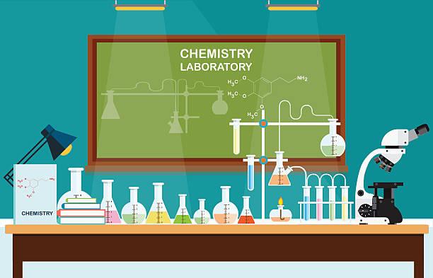 ilustrações, clipart, desenhos animados e ícones de química laboratório de ciências de aula. - aula de ciências