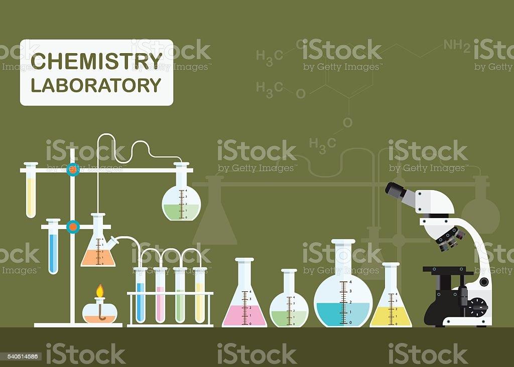 Microscopio de laboratorio de química de la ciencia y la tecnología. - ilustración de arte vectorial