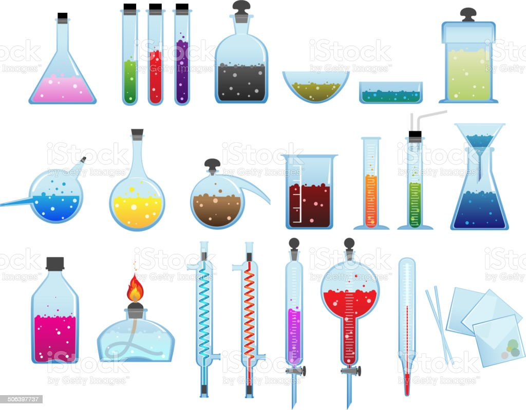 Chemical laboratory ware royalty-free stock vector art
