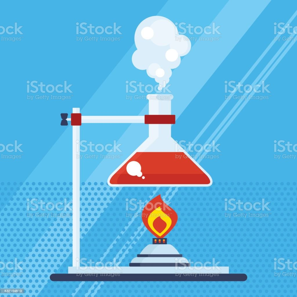 chemical laboratory with burner vector art illustration