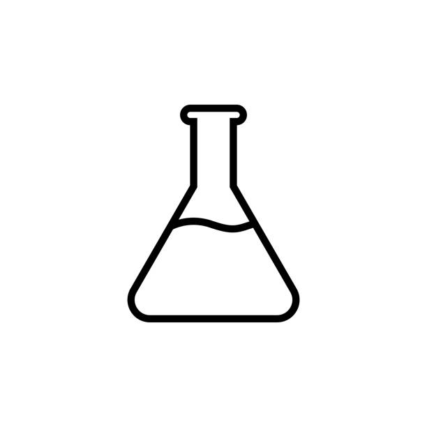 Chemical line icon,  laboratory glass sign, isolated on white background Chemical line icon,  laboratory glass sign, isolated on white background laboratory flask stock illustrations
