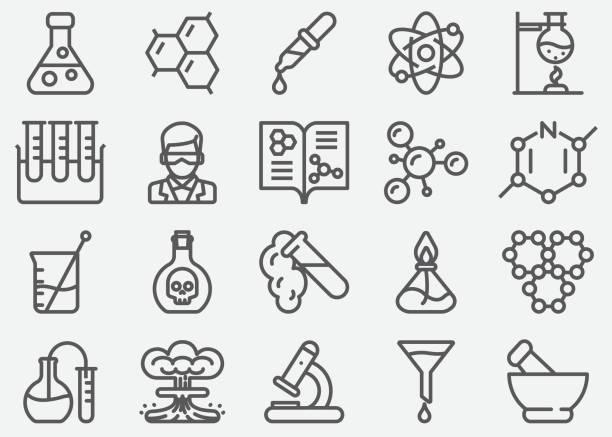 ilustraciones, imágenes clip art, dibujos animados e iconos de stock de iconos de la línea de química - química