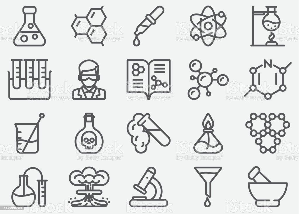 Chemical Line Icons - illustrazione arte vettoriale