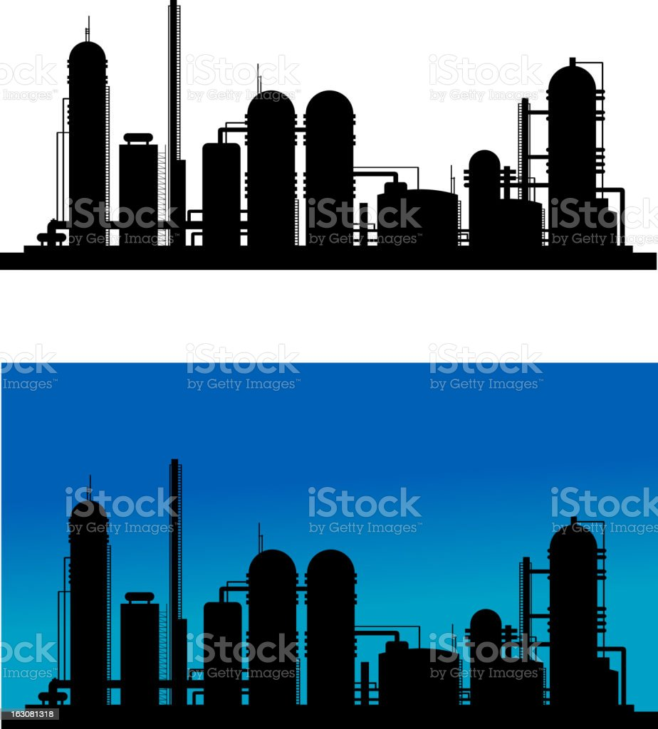 Chemical or refinery plant royalty-free stock vector art