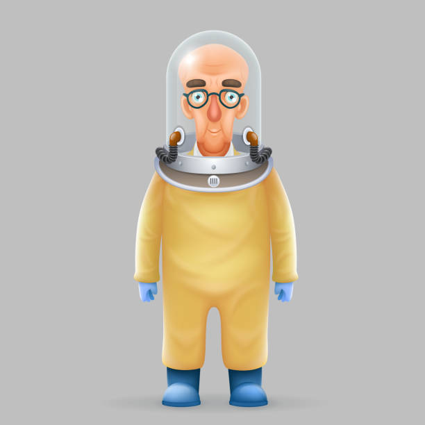 chemical protection overalls bald scientist avatar realistic helmet 3d glass design vector illustration - cartoon of a hazmat suit stock illustrations, clip art, cartoons, & icons