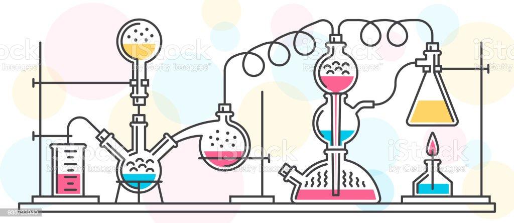 Reação Química - ilustração de arte em vetor