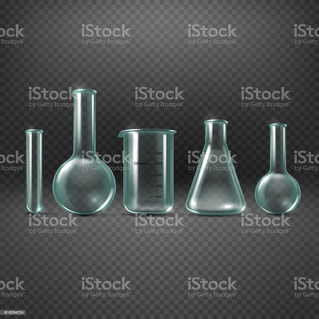 Chemical realistic test tubes vector set vector art illustration