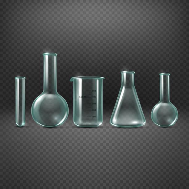 chemical realistic test tubes vector set - becherglas stock-grafiken, -clipart, -cartoons und -symbole